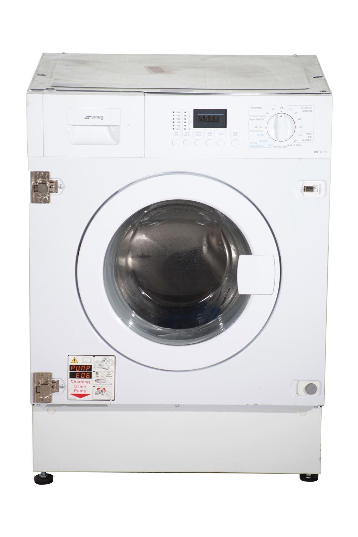 smeg integrated 7 4kg washer dryer wdi147d 1 white online store. Black Bedroom Furniture Sets. Home Design Ideas