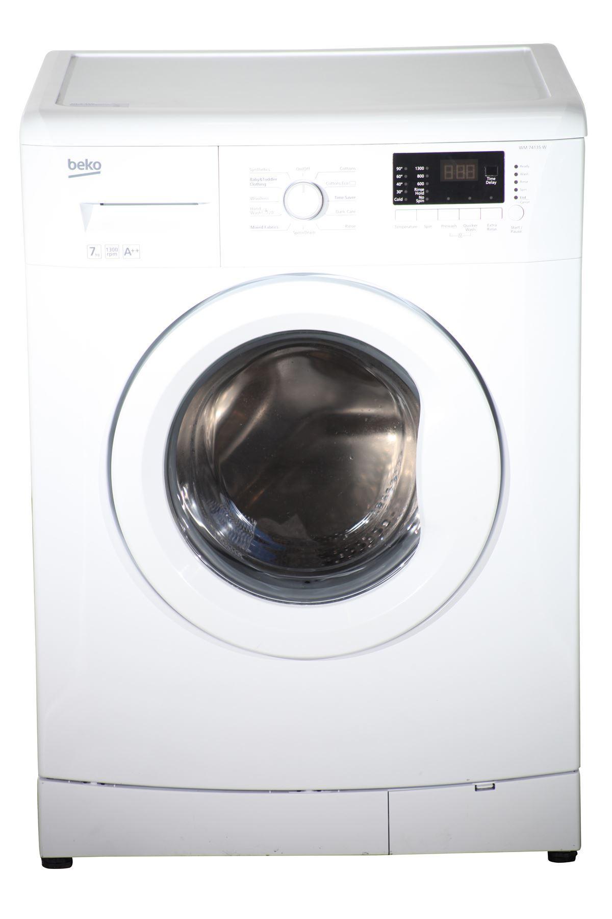 beko 7kg washing machine 1300 rpm wm74135w white. Black Bedroom Furniture Sets. Home Design Ideas
