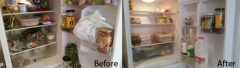 before and after cleaning fridge photos